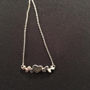 Sterling Silver Tiny Hearts Necklace